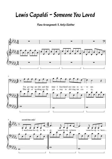 Lewis Capaldi - Someone You Loved - Piano/voice sheet