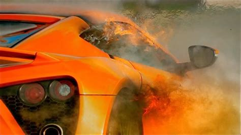 Top Gear - The Zenvo ST1 catches on fire - YouTube