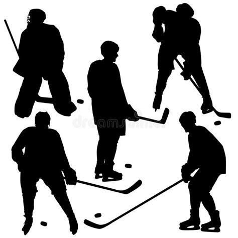 Set Of Silhouettes Of Hockey Player